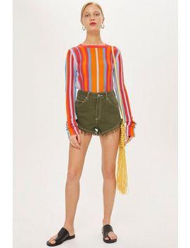 Khaki Denim Shorts by Topshop