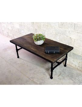 Corvallis Industrial Metal With Reclaimed Aged Wood Finish Rectangle Pipe Coffee Table by Furniture Pipeline