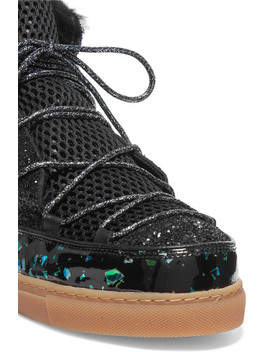 Quentin Glittered Leather, Shearling And Mesh Snow Boots by Sophia Webster