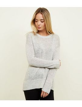 Pale Grey Curved Hem Jumper by New Look