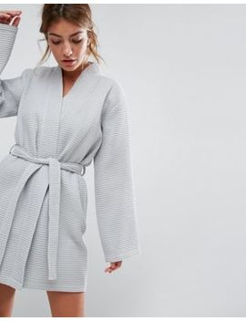 Asos Design Waffle Hotel Robe In 100 Percents Cotton by Asos Collection