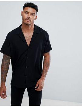 Asos Design Oversized Viscose Shirt With Deep V In Black by Asos Design