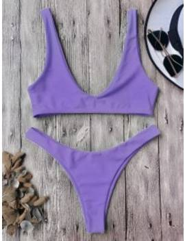 High Cut Bikini Set   Purple L by Zaful