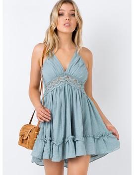 Diamond Dreams Mini Dress Sage by Princess Polly