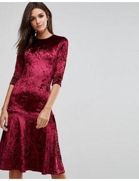 Club L Crushed Velvet Peplum Hem Midi Dress by Club L