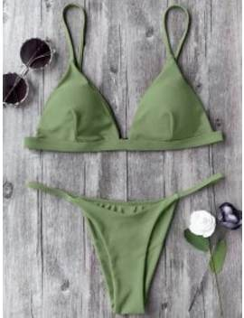 Spaghetti Straps Plunge Thong Bikini Set   Green M by Zaful