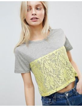 Qed London Lace Detail T Shirt by Top