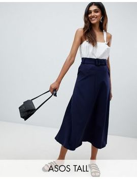 Asos Tall Tailored Simple Midi Skirt With Selfbelt by Asos Tall