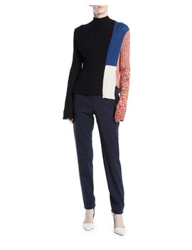 Mock Neck Long Sleeve Patchwork Ribbed Wool Sweater by Calvin Klein 205 W39 Nyc