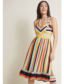 Halter Midi Dress With Ruffle Hem In 2 X by Modcloth