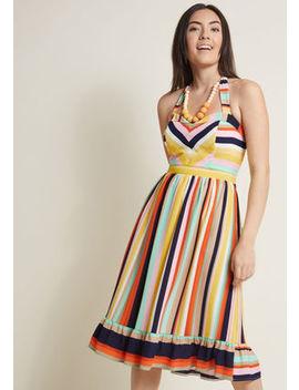 Halter Midi Dress With Ruffle Hem In 2 X by Modcloth