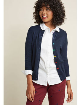 Charter School Crew Neck Cardigan In Rainbow Buttons In 2 X by Modcloth
