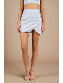 Meant To Be Light Blue Plaid Slit Skirt by Tobi