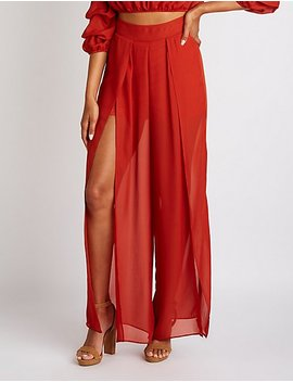 Front Slit Palazzo Pants by Charlotte Russe