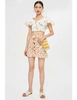 Tall Floral Tie Button Skirt by Topshop