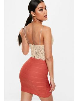 Petite Nude Lace Cami Top by Missguided