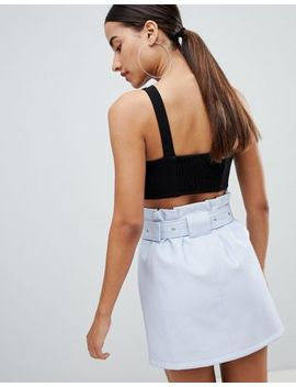 Asos Design Leather Look Mini Skirt With Gathered Waist And Belt by Asos Design