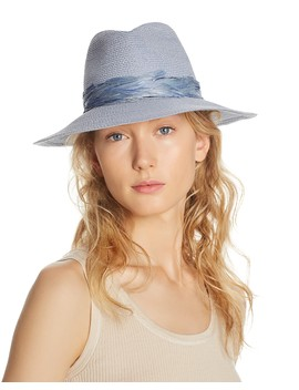 Courtney Feather Trim Fedora by Eugenia Kim