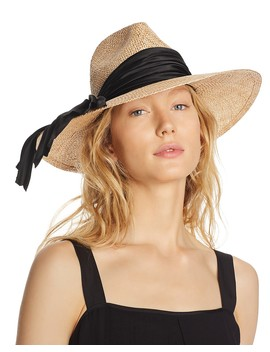Emmanuelle Satin Trim Straw Fedora by Eugenia Kim