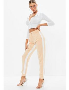 Nude Side Stripe Joggers by Missguided