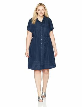 Rebel Wilson X Angels Women's Plus Size Chambray Button Up Dress by Rebel Wilson X Angels