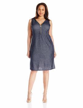 Msk Women's Plus Size Knit Chambray Zipper Dress by Msk
