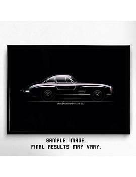 Mercedes 300 Sl Gullwing Fan Art, Classic Sport Car, Minimal Printable, Stylish Poster, Quality Wallart, Minimalism, Retro Style, Wall Decor by Etsy