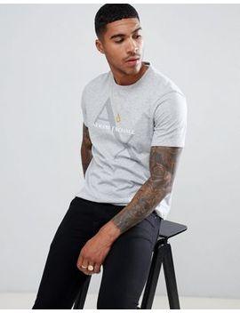 Armani Exchange Large Diagonal Logo T Shirt In Gray Marl by Armani Exchange