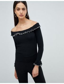 Fashion Union Off Shoulder Jumper With Crinkle Hem by Fashion Union
