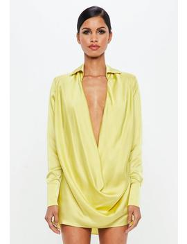 Peace + Love Chartreuse Yellow Satin Cowl Mini Dress by Missguided