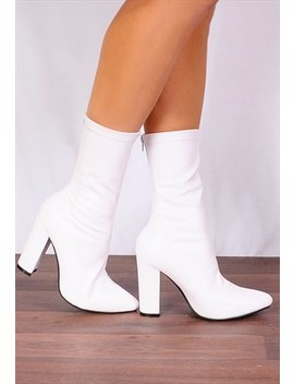 White Pu Leather Stretch Sock Pull On Ankle High Heels Boots by Shoe Closet
