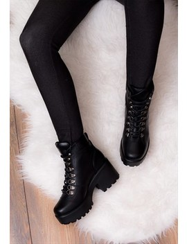Shotgun 3 Lace Up Heeled Ankle Boots   Black Leather Style by Spy Love Buy