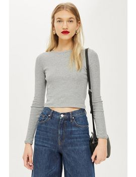 Long Sleeve Scallop Top by Topshop
