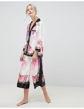 B By Ted Baker Painted Posey Revere Top And Wide Leg Pj Bottoms Set by Ted Baker
