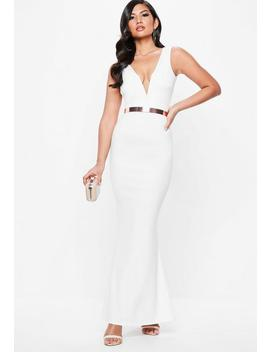 White Plunge Maxi Dress by Missguided