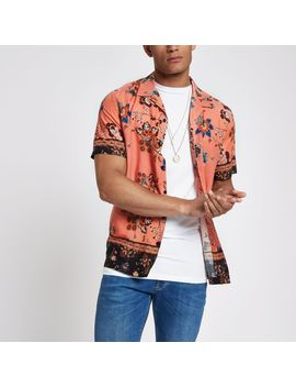 Pink Printed Revere Short Sleeve Shirt by River Island