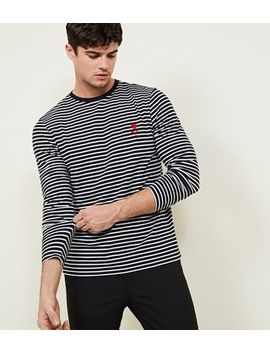 Black Rose Embroidered Stripe Long Sleeve T Shirt by New Look