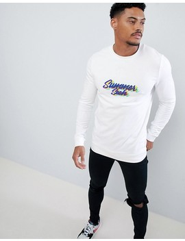Asos Design Muscle Sweatshirt With Summer Sesh Slogan Print by Asos Design