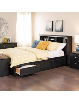 Full Mates Platform Storage Bed With 6 Drawers, Black by Prepac