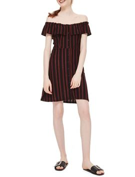 Stripe Frill Bardot Dress by Topshop