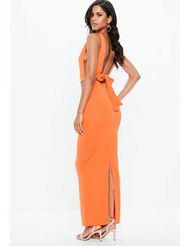 Orange Sleeveless Cut Out Tie Back Maxi Dress by Missguided