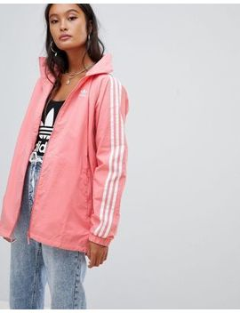 Adidas Originals Three Stripe Hooded Jacket In Pink by Adidas