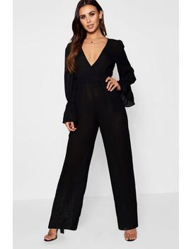 Petite Ruched Sleeve Wide Leg Jumpsuit by Boohoo
