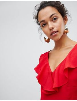 Vila Ruffle Detail Wide Leg Jumpsuit by Vila