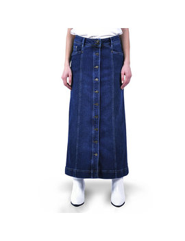 Denim Maxi Skirt Dark Wash Buttoned Long Soft Stretching Comfy Full Length Modest Skirt With Pockets Blue Summer Spring Fall by Etsy