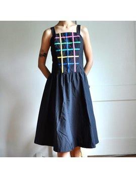 Vintage 70s 80s Black Multicolor Grid Cotton Blend Dress by Etsy