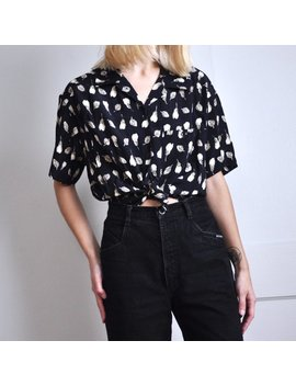 Vintage 90s Black Floral Leaf Print Button Up Top by Etsy