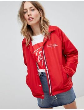 Tommy Hilfiger Coach Jacket With Scribble Logo by Tommy Hilfiger