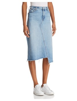 Step Hem Denim Midi Skirt In Misbeliever by Mother