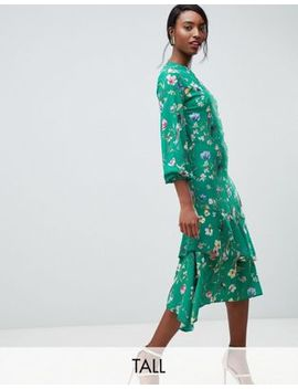 John Zack Tall Midi Tea Dress In Green Floral Print by John Zack Tall